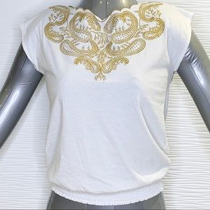 Chaps Embellished Cap Sleeve T-Shirt